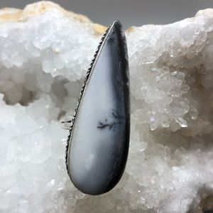 Long scenic dendritic opal crystal ring 925 stamp